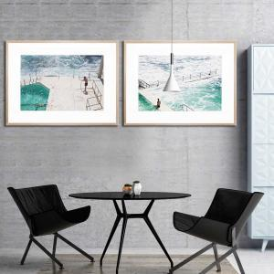 Beach Waters / Lone Swimmers - Framed Print