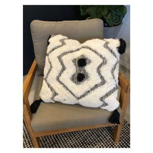 Gaile Handwoven Cushion - Black and White (55x55)