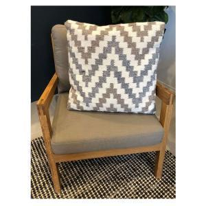 Gaira Handwoven Cushion - Grey Taupe and Cream (55x55)