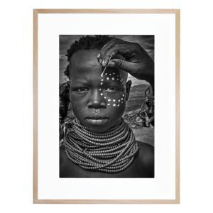 Painting the Face of a Karo Tribe Girl - Framed Print