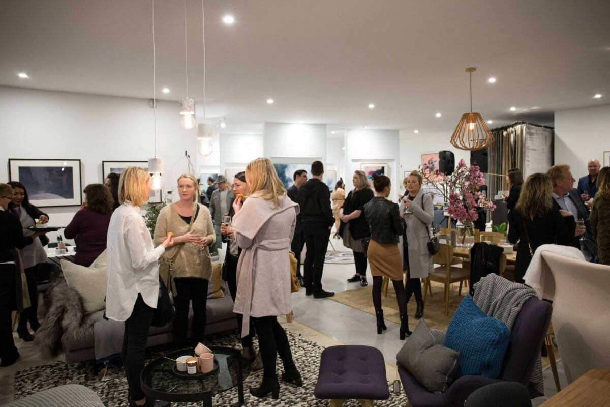 united interiors showroom opening launch vip event party moorabbin art gallery interiors art decor furniture