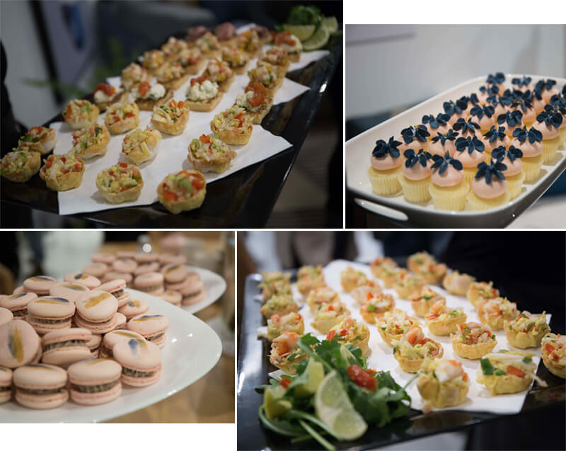 food united interiors showroom opening launch party catering desserts priors catering brighton east nectar and stone chocolate macarons cupcakes