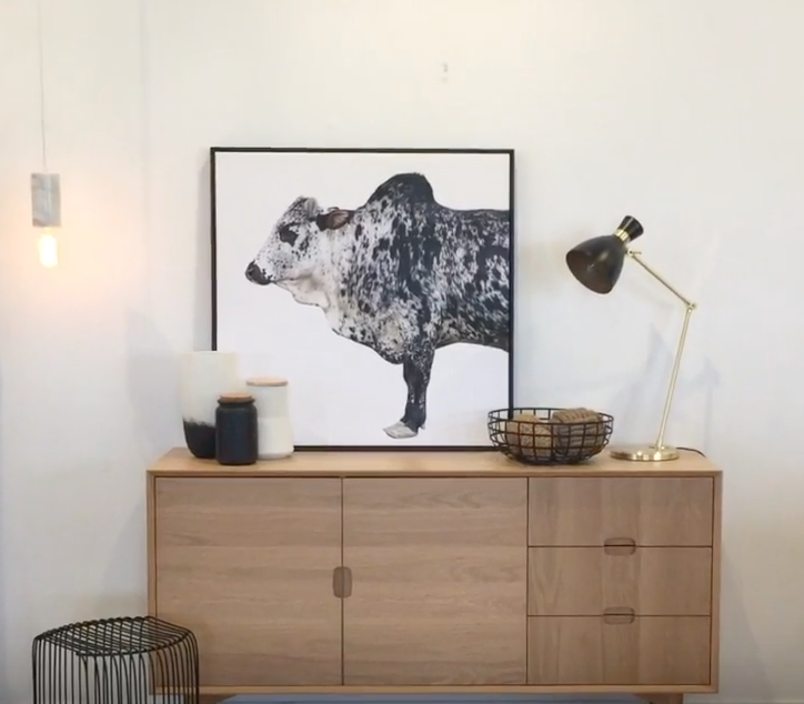 how to style a sideboard 3 ways james treble united interiors tribal canvas prints tribal bovine cow