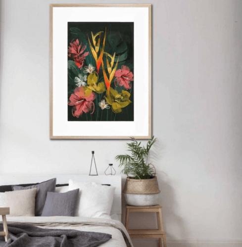 UNITED INTERIORS - TROPICAL FLOWERS - FRAMED PRINT uk artist green lili floral print vintage