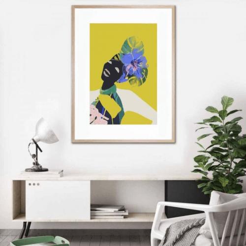 UNITED INTERIORS - AYO - FRAMED PRINT graphic island tropical print green lili