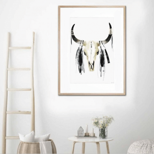UNITED INTERIORS - FOLLOW THE TRIBE - FRAMED PRINT watercolour art