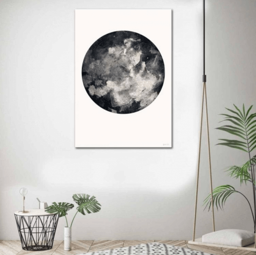 inverted moon framed print green lili united interiors artwork